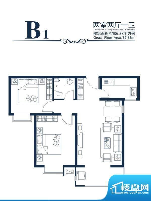 高新香江岸户型图B-1户型 2室2面积:86.33平米