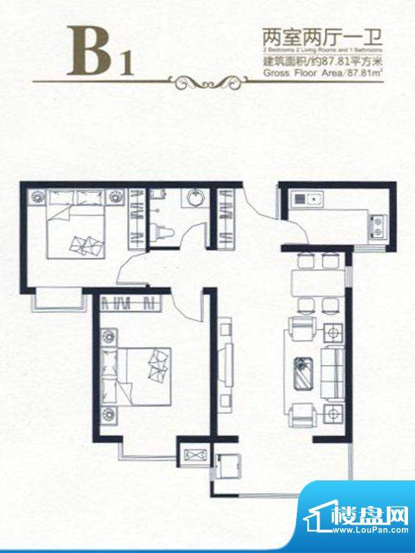 高新香江岸户型图B1 2室2厅1卫面积:87.81平米