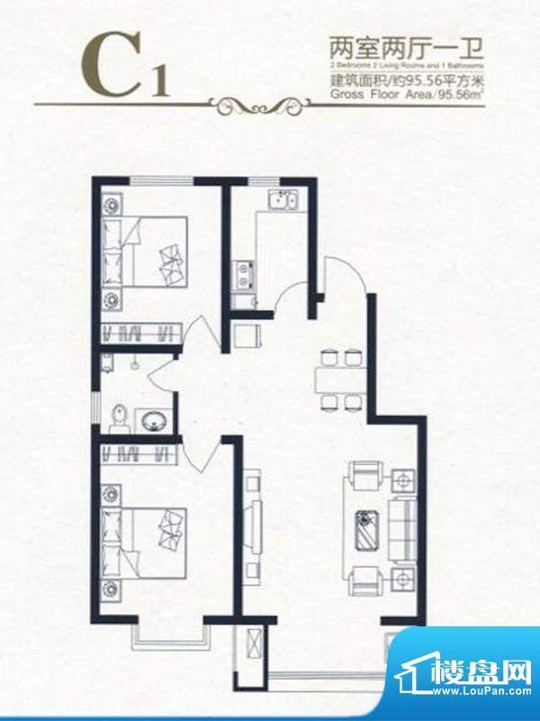 高新香江岸户型图C1 2室2厅1卫面积:95.56平米