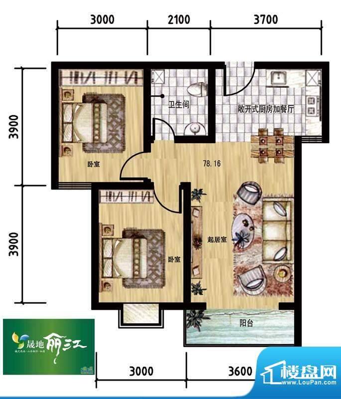 晟地丽江户型图01户型 2室1厅1面积:78.16平米