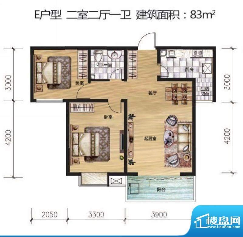 晟地丽江户型图E户型 2室2厅1卫面积:83.00平米