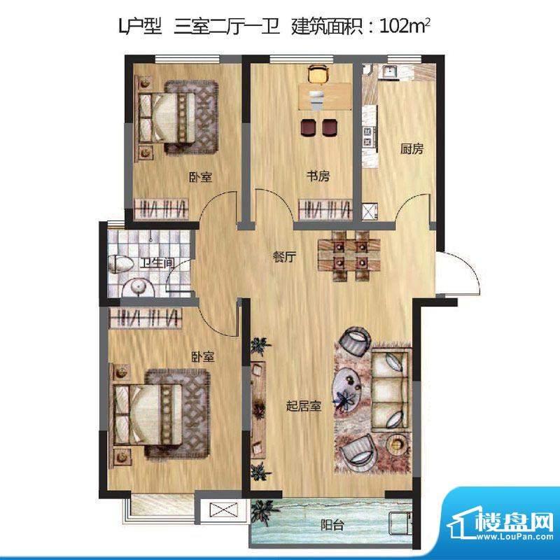 晟地丽江户型图L户型 3室2厅1卫面积:102.00平米