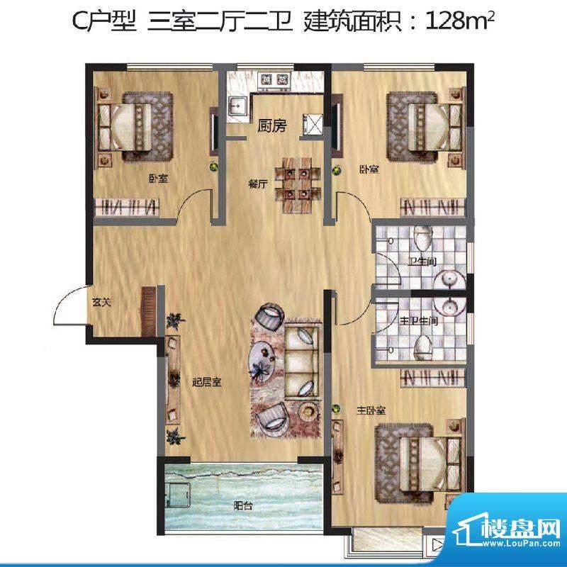晟地丽江户型图C户型 3室2厅2卫面积:128.00平米