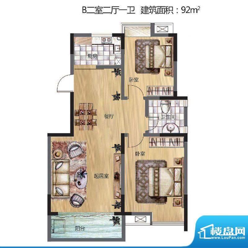 晟地丽江户型图B户型 2室2厅1卫面积:92.00平米