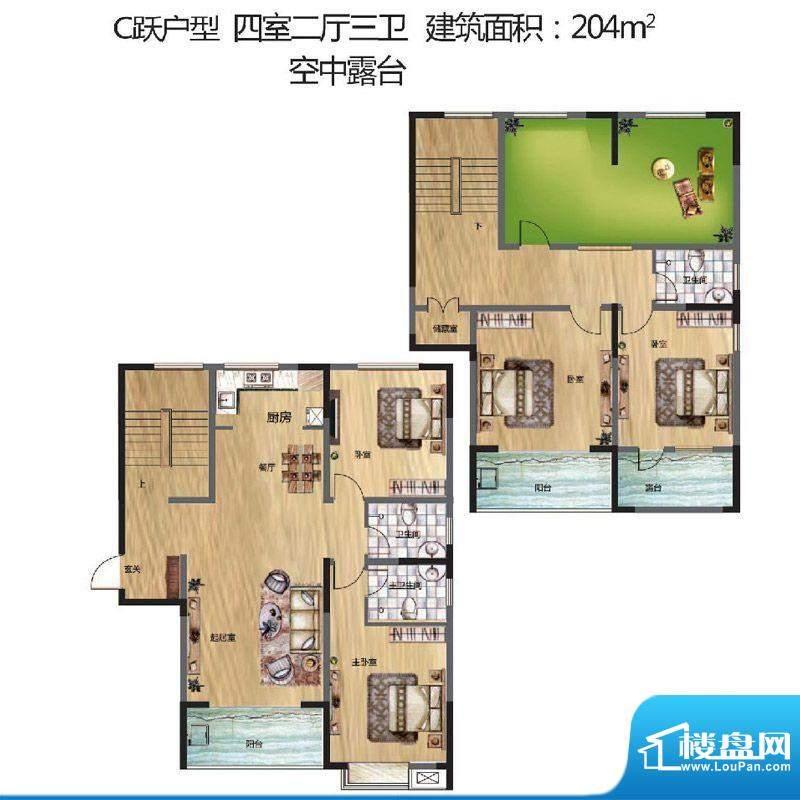 晟地丽江户型图C户型 4室2厅3卫面积:204.00平米