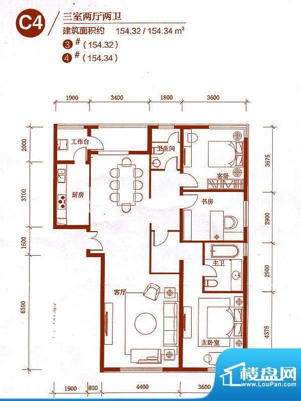 中央悦城户型图3、4#楼C4户型 面积:154.32平米