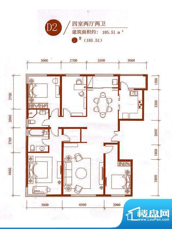 中央悦城户型图5#楼D2户型 4室面积:185.51平米