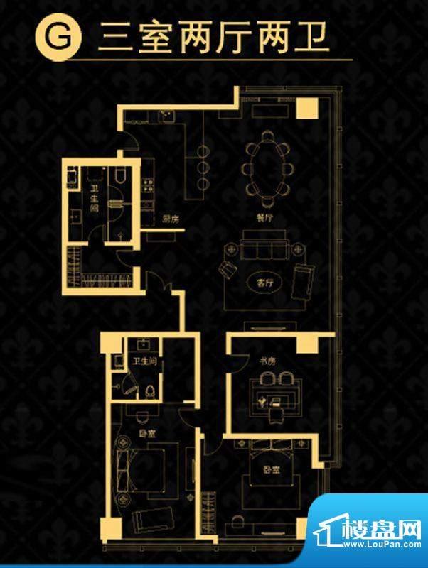 中央悦城户型图公寓G户型 3室2
