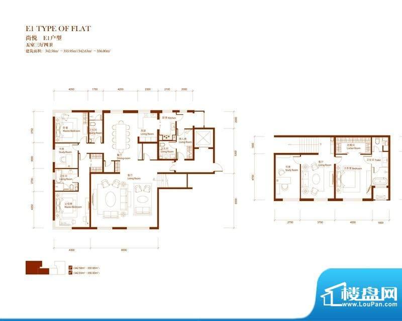 中央悦城户型图E1户型 5室3厅2面积:342.58平米