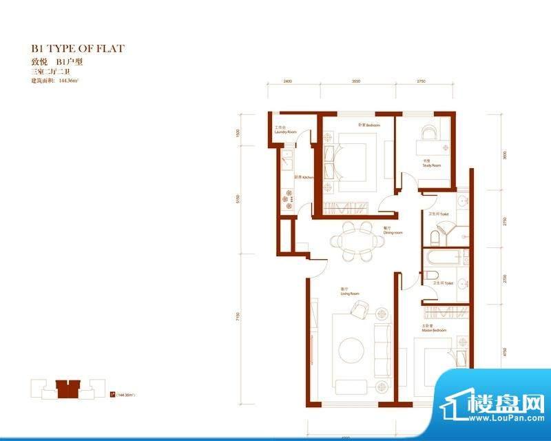 中央悦城户型图B1户型 3室3厅3面积:144.36平米