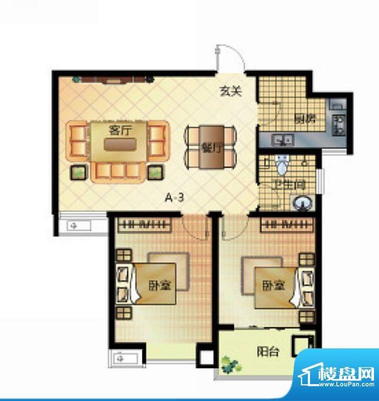 壹江城户型图7号楼户型02 2室2面积:89.00平米