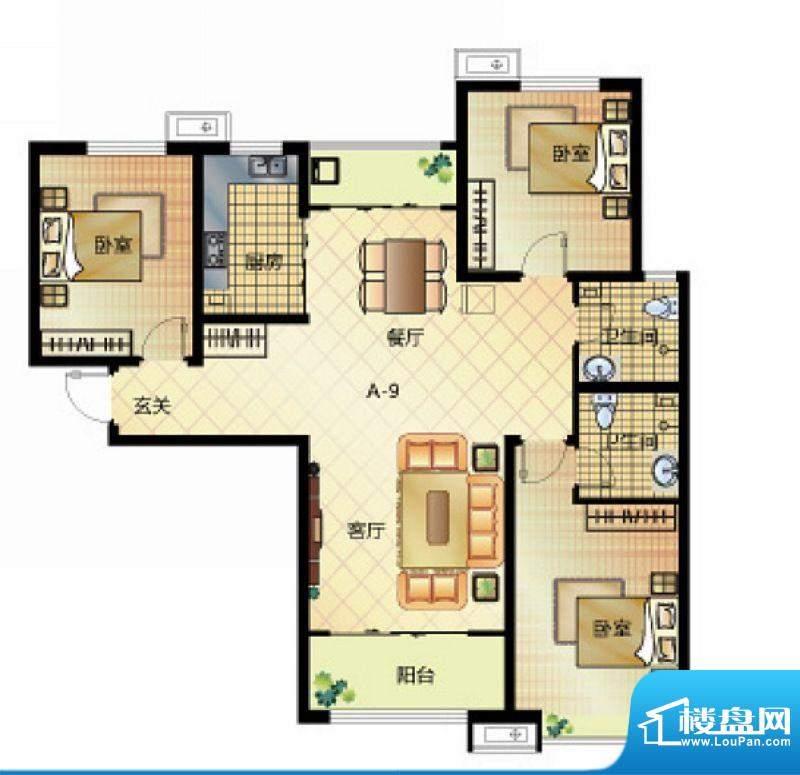 壹江城户型图7号楼户型03 3室2面积:132.50平米