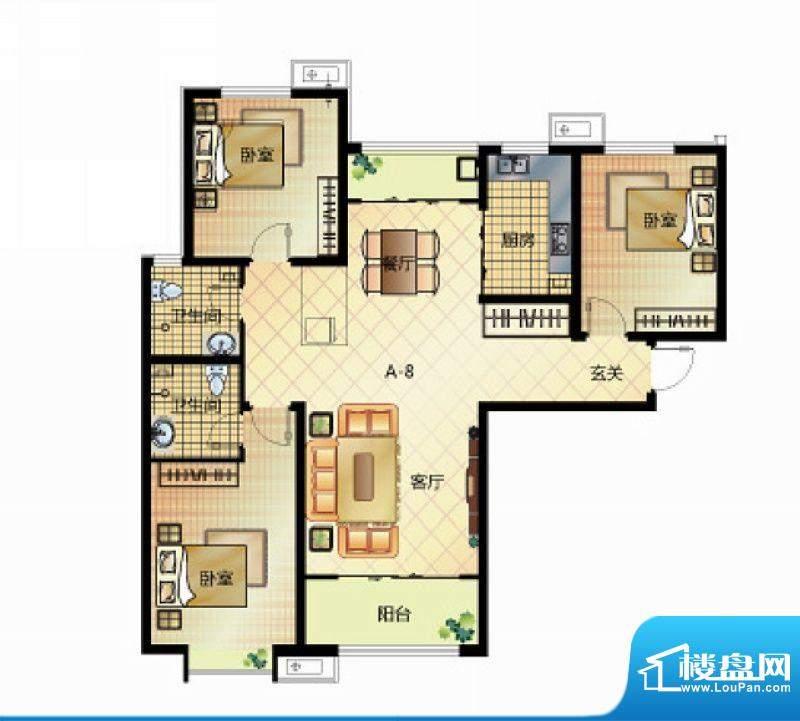 壹江城户型图7号楼户型04 3室2面积:132.50平米