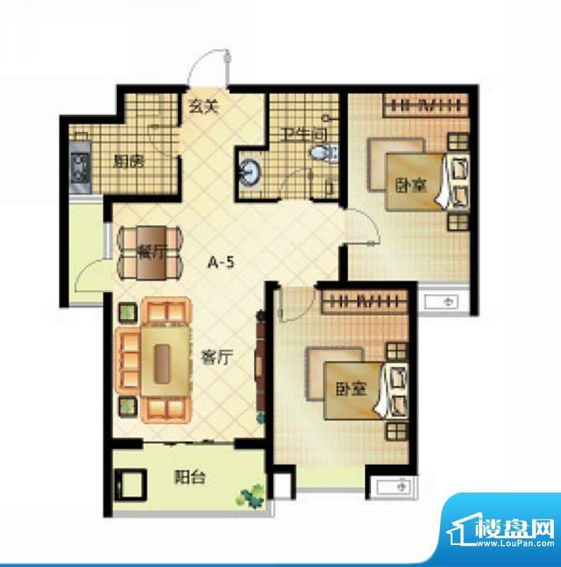 壹江城户型图7号楼户型05 2室2面积:93.50平米