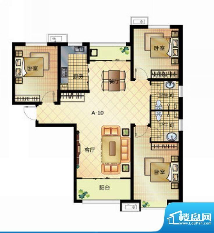 壹江城户型图7号楼户型06 3室2面积:129.00平米