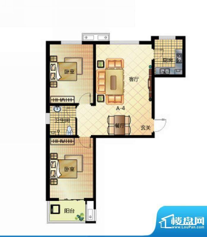 壹江城户型图7号楼户型01 2室2面积:95.50平米