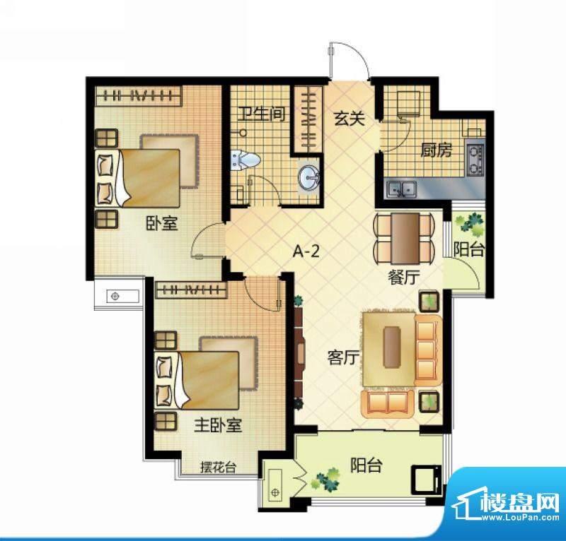 壹江城户型图7#户型-02 2室2厅面积:93.50平米