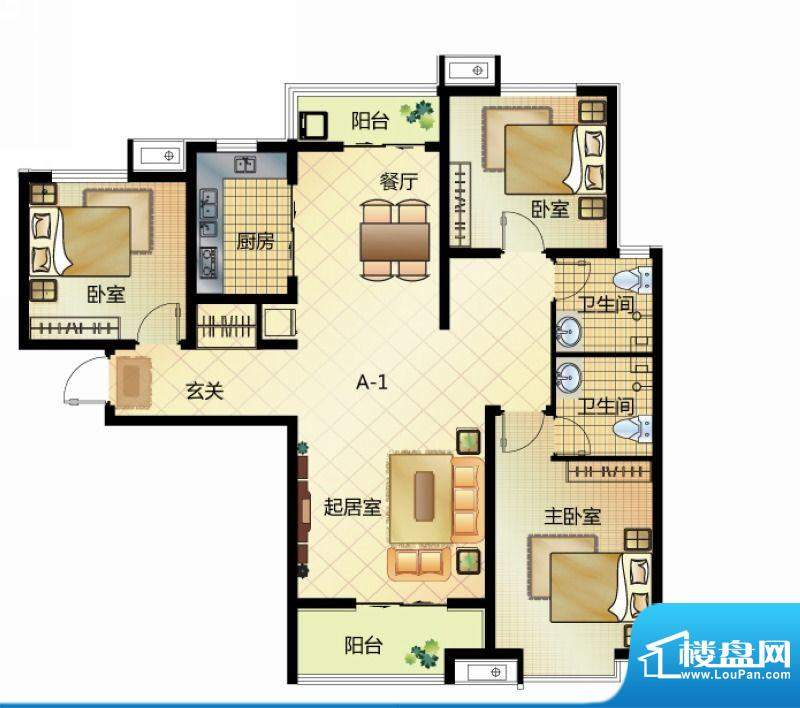 壹江城户型图7#户型-01 3室2厅面积:132.50平米