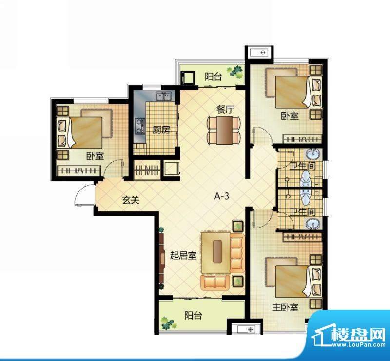 壹江城户型图7#户型-03 3室2厅面积:129.00平米