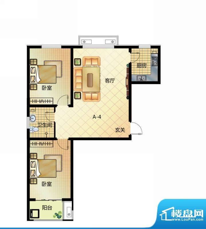 壹江城户型图7#户型-04 2室2厅面积:95.50平米