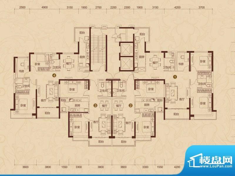 恒大雅苑户型图13号楼3-32层平面积:132.00平米