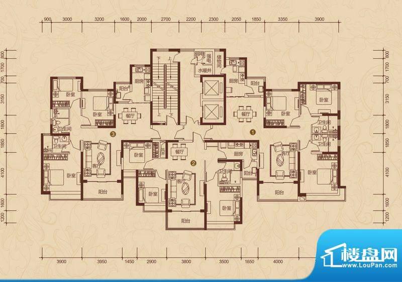 恒大雅苑户型图20#1单元 3室2厅面积:146.59平米