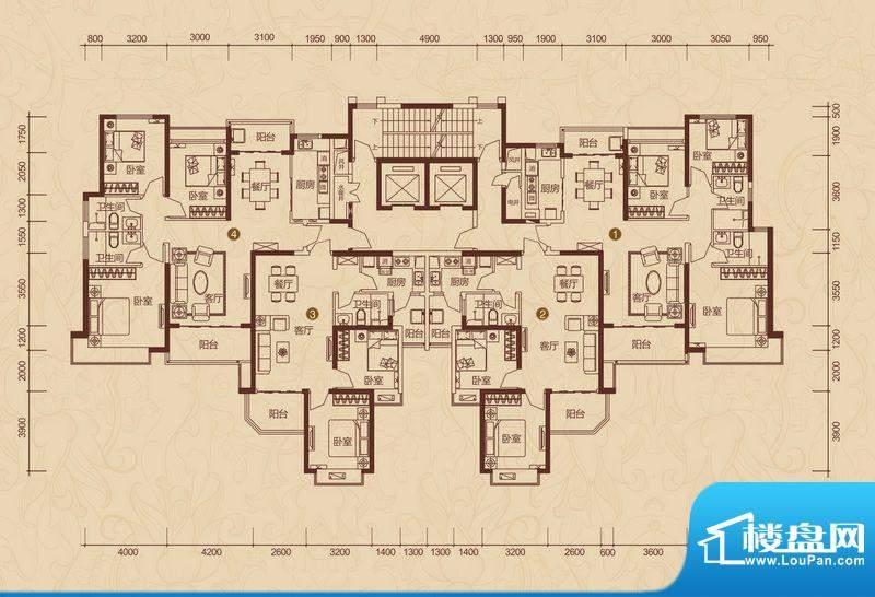 恒大雅苑户型图16号楼平面示意面积:132.80平米