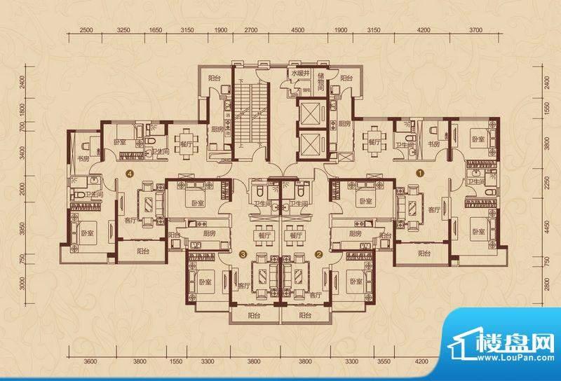 恒大雅苑户型图15号楼平面示意面积:147.78平米