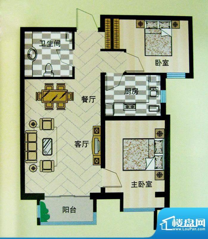 安联青年城户型图10#11#楼户型面积:79.57平米