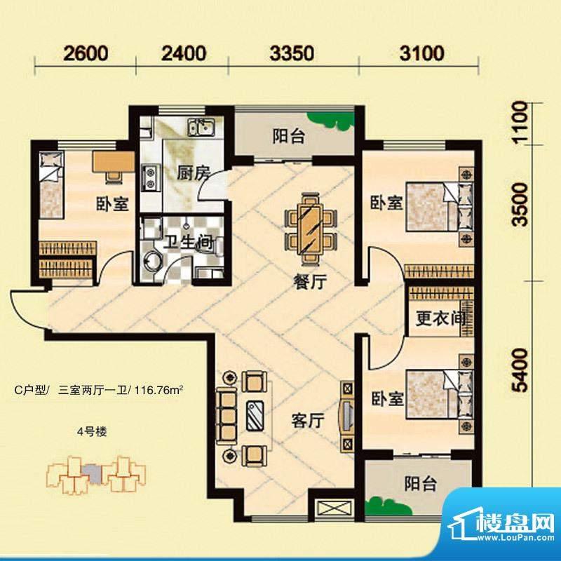 安联青年城户型图一期 4# C户型面积:116.76平米