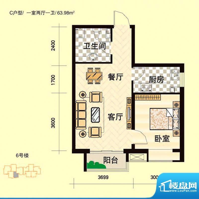 安联青年城户型图一期 6# C户型面积:63.98平米