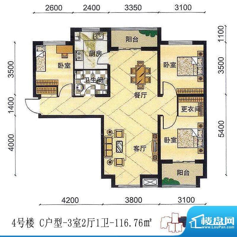 安联青年城户型图一期 4号楼 C面积:116.76平米