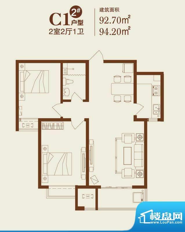 卓达上院户型图2#C1户型 2室2厅面积:94.20平米