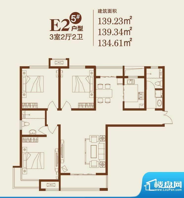 卓达上院户型图5#E2户型 3室2厅面积:139.23平米