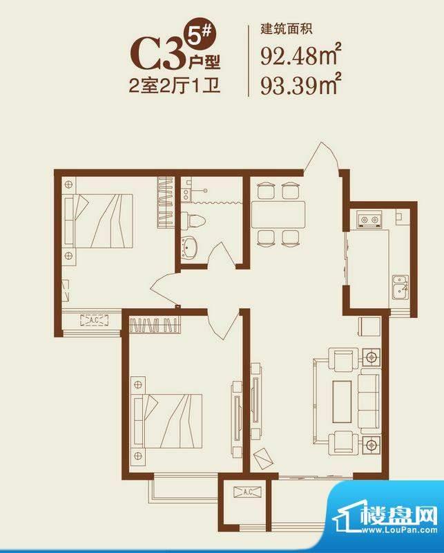 卓达上院户型图5#C3户型 2室2厅面积:92.48平米