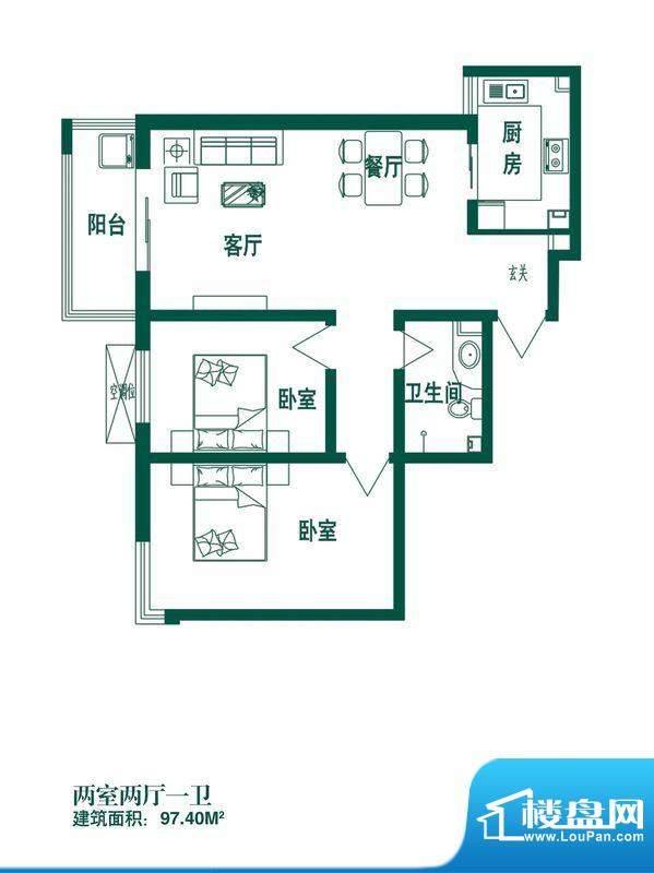 时光园户型图T-3 2室2厅1卫1厨面积:97.40平米