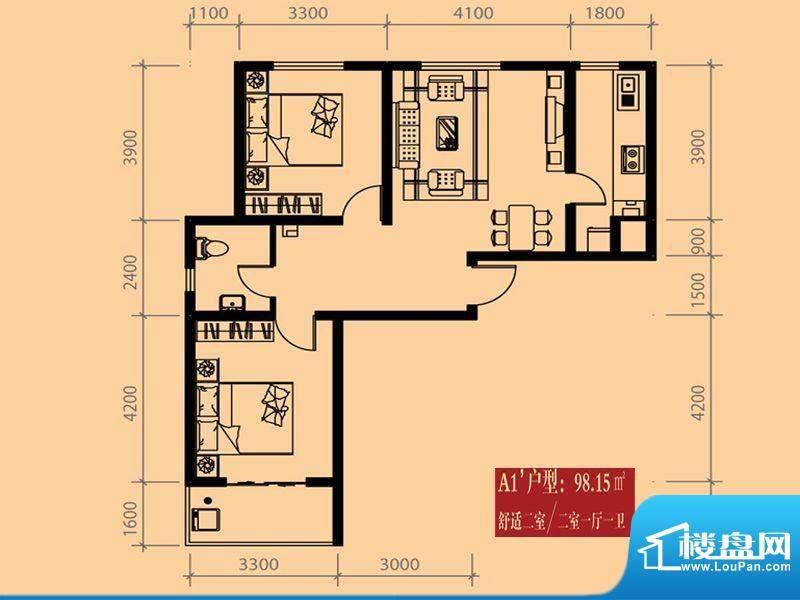 尚城户型图A1户型 2室1厅1卫1厨面积:98.15平米