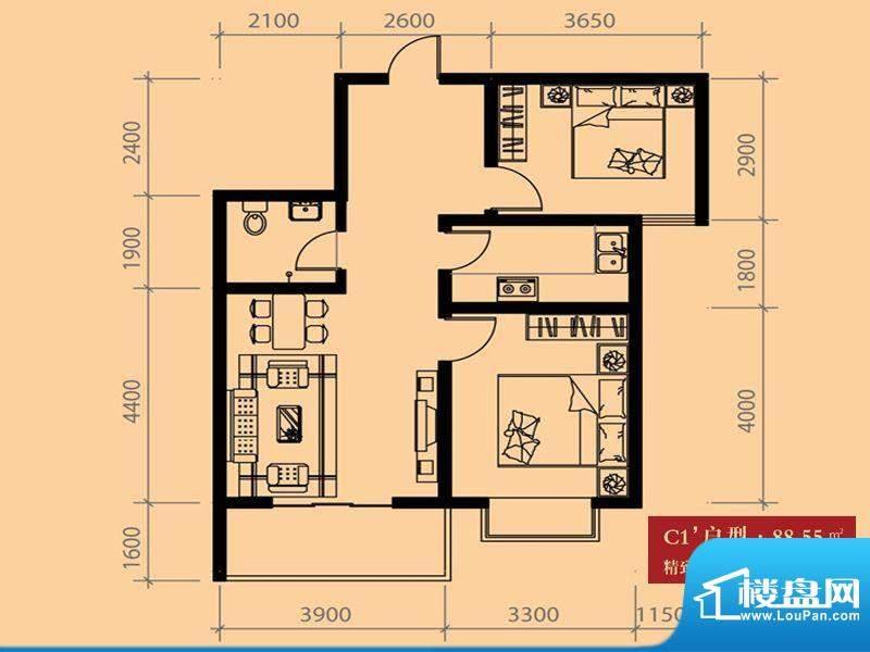 尚城户型图C1户型 2室1厅1卫1厨面积:88.55平米