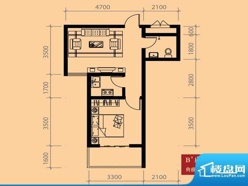 尚城户型图B户型 1室1厅1卫1厨面积:56.23平米