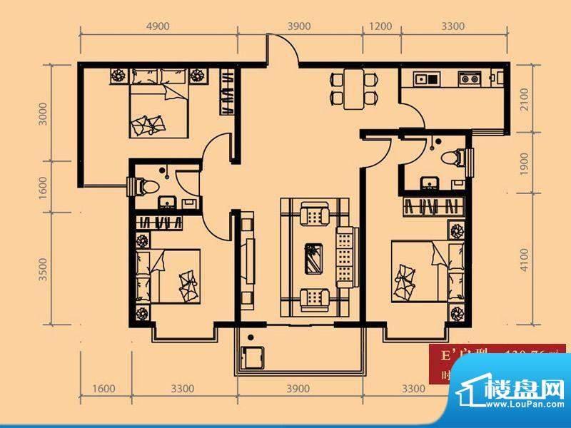 尚城户型图E户型 3室2厅2卫1厨面积:130.76平米