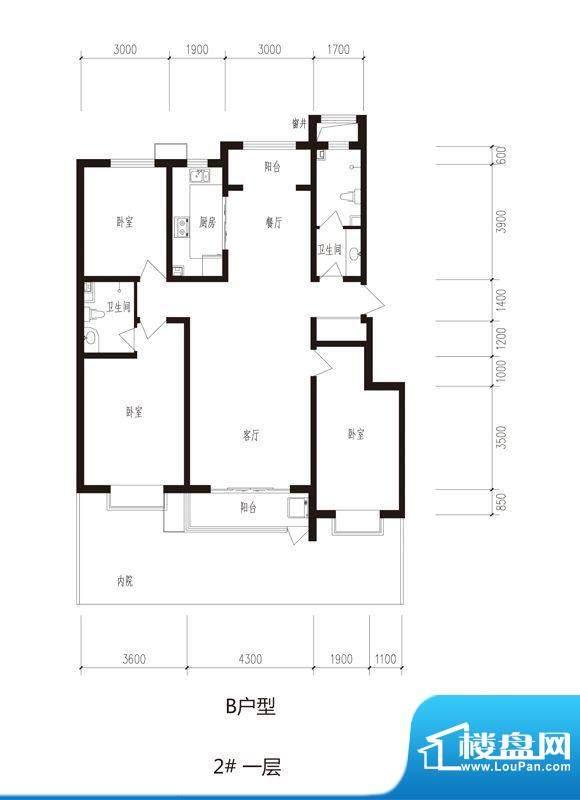 心海湾二期户型图2#-B户型 3室面积:138.56平米