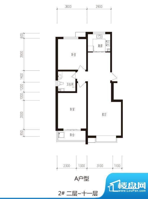 心海湾二期户型图2#-A户型 2室面积:98.34平米