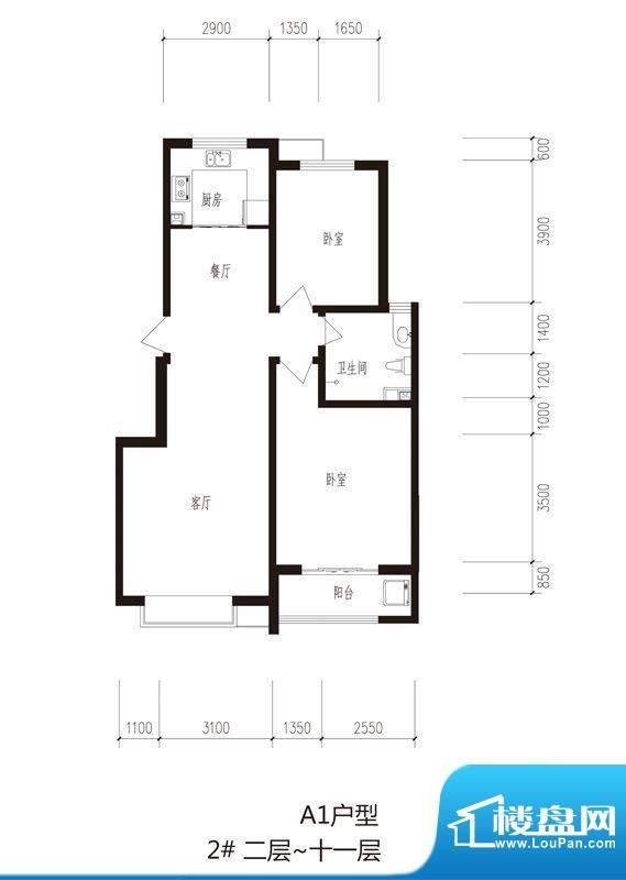 心海湾二期户型图2#-A1户型 2室面积:98.34平米