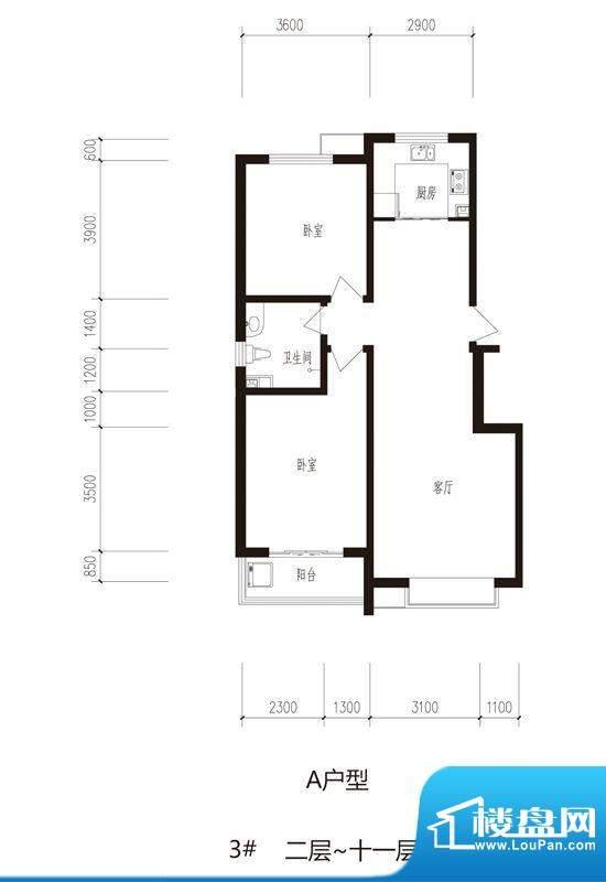 心海湾二期户型图1#--3#-A户型面积:99.15平米