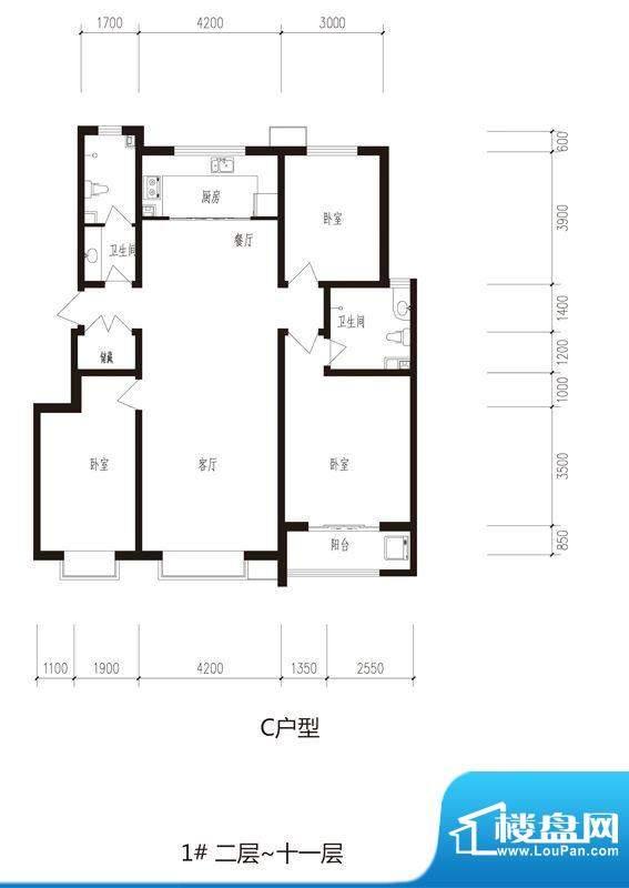 心海湾二期户型图1#--3#-C户型面积:139.35平米