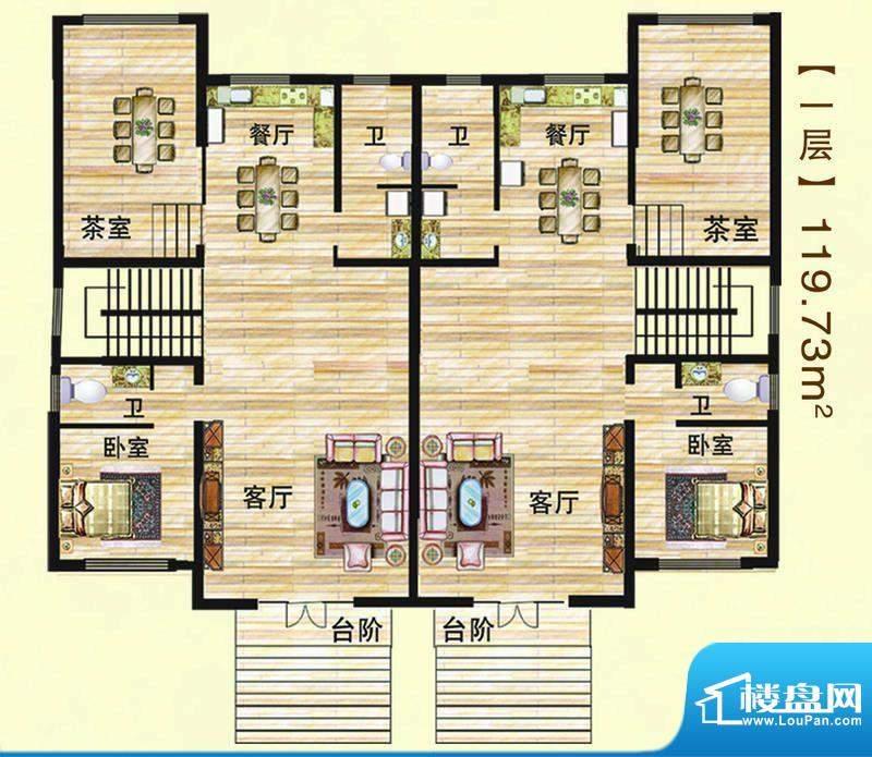 江水西岸户型图双拼别墅1层