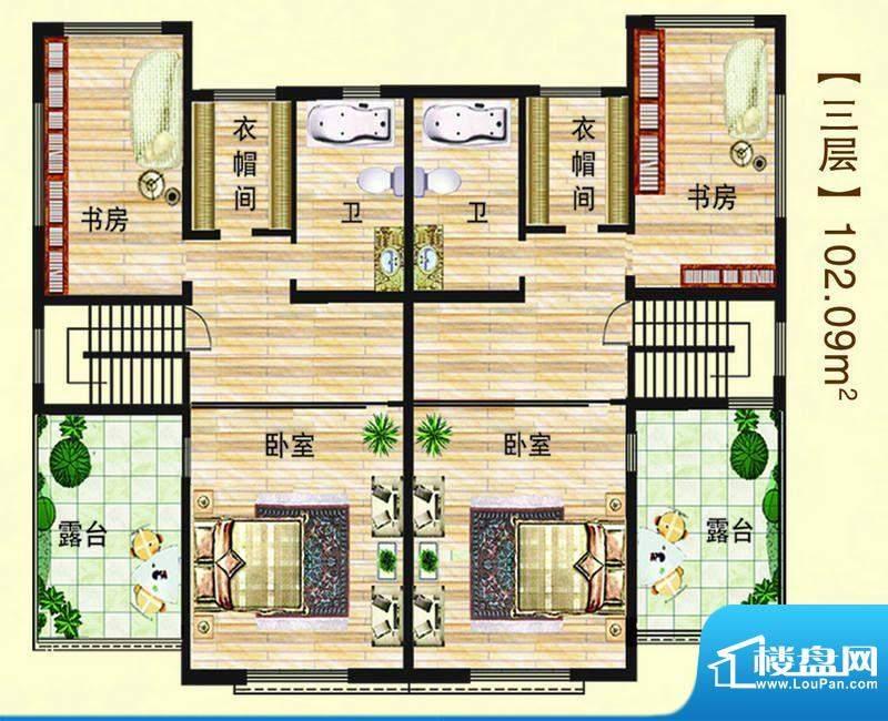 江水西岸户型图双拼别墅3层