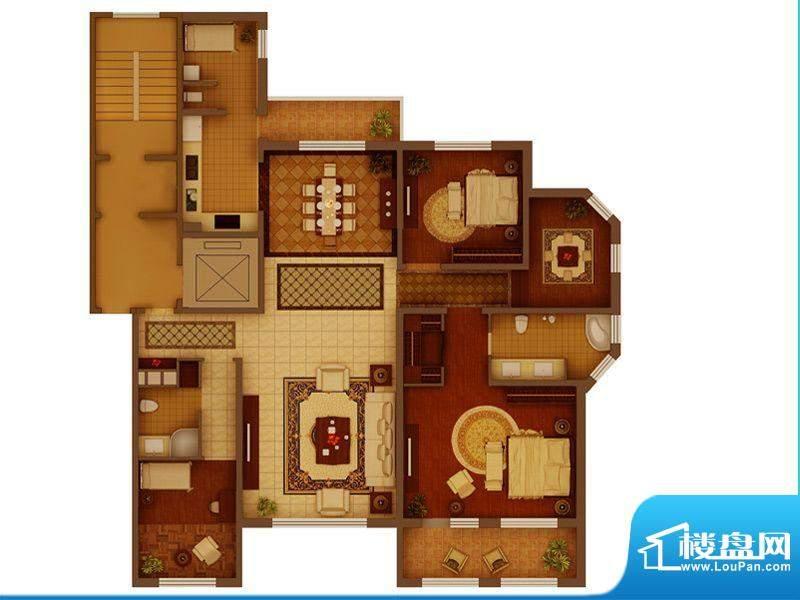 金正君庭户型图C户型 2室2厅2卫面积:189.60平米