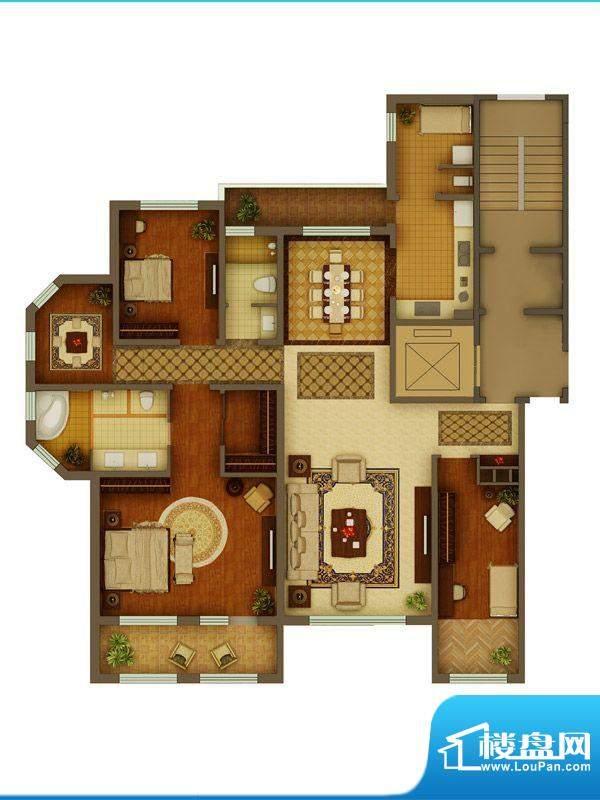 金正君庭户型图E户型 4室2厅2卫面积:189.60平米