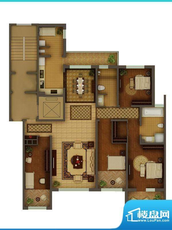 金正君庭户型图D户型 4室2厅2卫面积:187.60平米